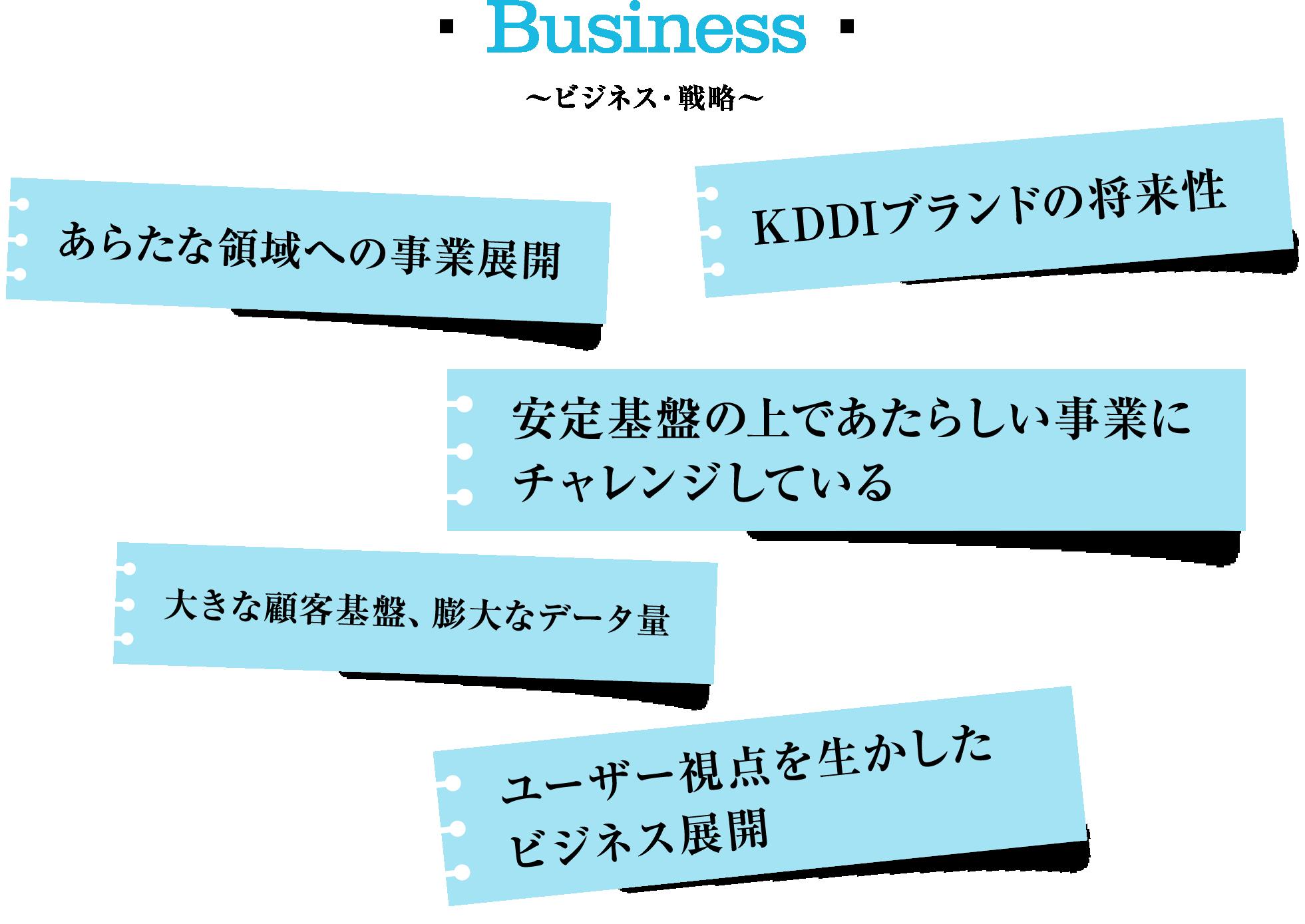 Business~ビジネス・戦略~ KDDIブランドの将来性 あらたな領域への事業展開 安定基盤の上であたらしい事業に 大きな顧客基盤、膨大なデータ量 ユーザー視点を生かした ビジネス展開 チャレンジしている